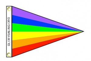 "GLORY Rainbow burgee Size 450 mm x 300 mm (17' x 11"") with brass grommets and rope ties."